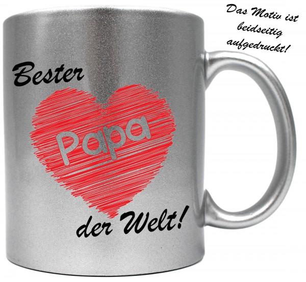 knallige Tasse mit beidseitigem Motiv ~ Bester Papa der Welt ~ Farbe: silber-metallic ~ Kaffee-Becher mit Motiv