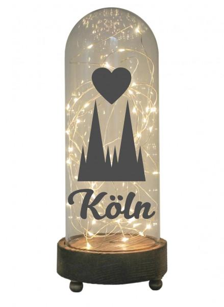 LED-Glaskuppel XXL mit Motiv, Kölner Dom Herz Köln, grau, 29cm, Glas-Licht Lampe mit Text Spruch