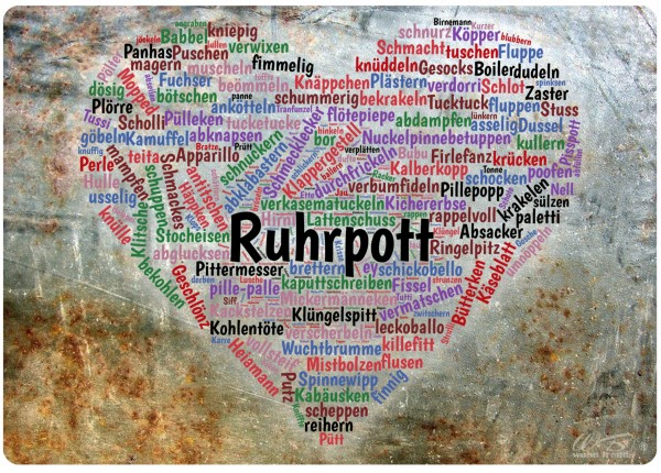 Holz-Brett, Ruhrpott Wortwolke Herz Wörter Sprache Dialekt, Holz-Schild Wand-Bild 21x15cm