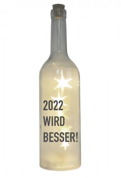 LED-Flasche mit Motiv, 2022 wird besser, grau, 29cm, Flaschen-Licht Lampe mit Text Spruch