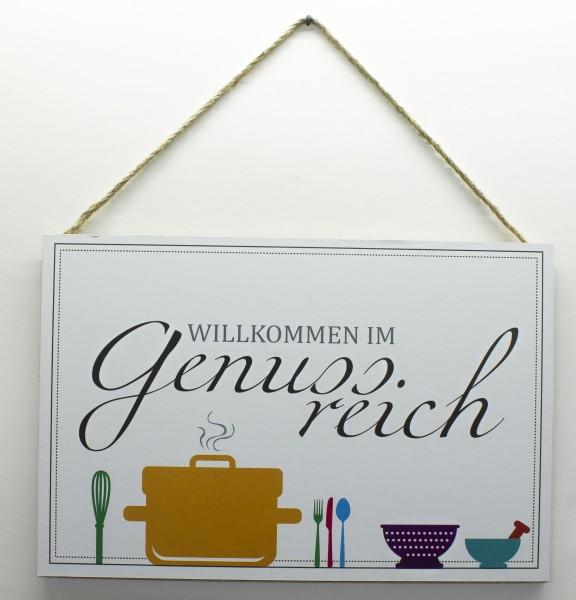 Holz-Schild zum Hängen, Willkommen im Genuss-reich, 30x20cm Deko-Schild