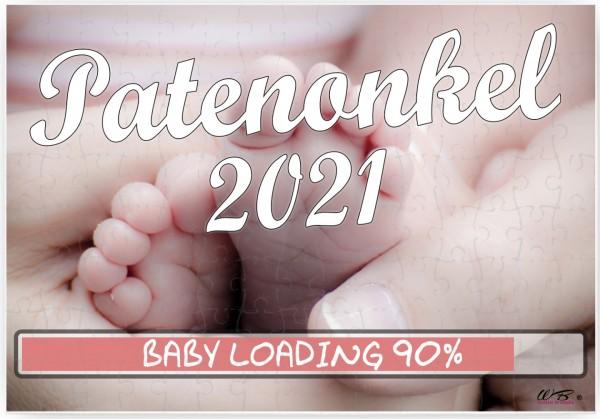 Puzzle-Botschaft eckig, Patenonkel 2021 / Baby-Füße, 120 Teile 27x18cm inkl. Geschenk-Beutel