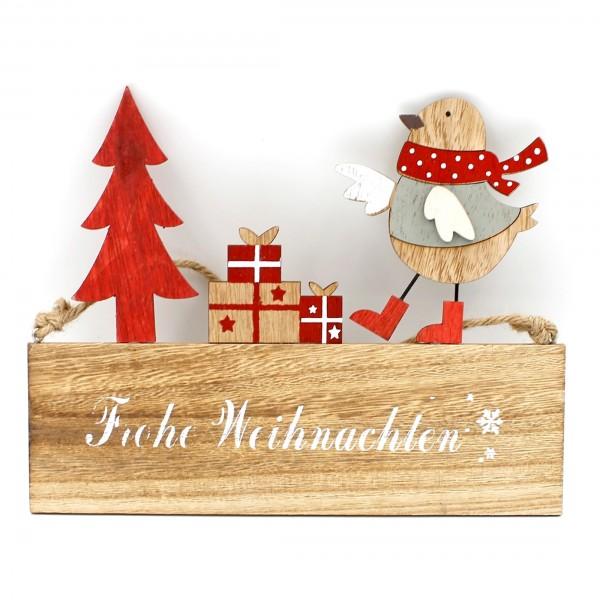 Schild zum Hängen ~ Frohe Weihnachten ~ aus Holz ~ rot weiß beige ~ 24 x 19cm