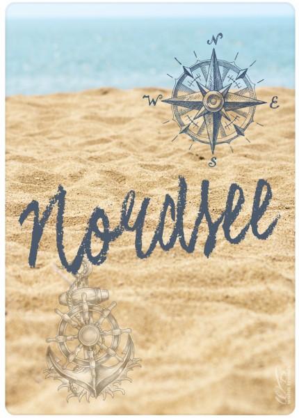Holz-Postkarte, Nordsee - Strand Meer, Holz-Schild Wand-Bild Deko-Schild 15x10cm