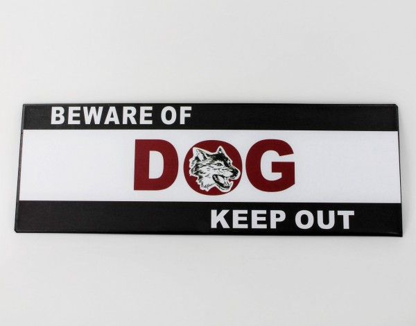 Schild aus Metall - Beware of dog keep out - 35 x 12 cm - Vorsicht Hund