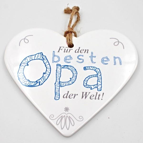 Keramik Herz, Für den besten Opa der Welt!, zum Hängen und Legen, ca 15cm