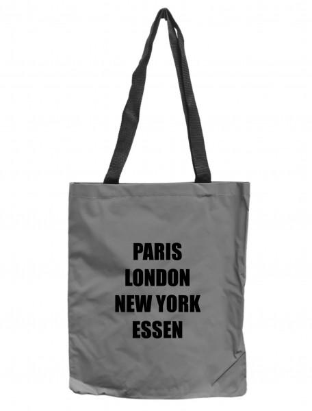 Reflektor-Tasche Essen - Paris London New York, grau-silber REFLEKTIERT! Einkaufs-Beutel mit Innentasche, Einkaufstasche Tragetasche Shopper Shopping-Bag Ruhrpott