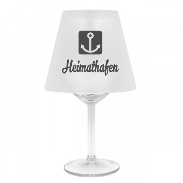 Lampenschirm für Weinglas, Heimathafen mit Anker, grau, Schirm ohne Glas, Windlicht