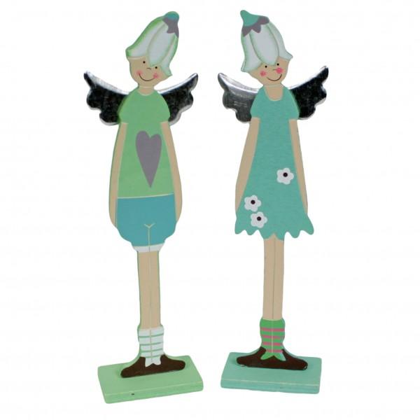 2er Set ~ süße Elfen zum Stellen ~ Mädchen und Junge ~ aus Holz ~ 30cm hoch
