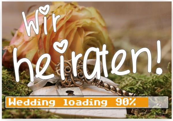 Puzzle-Botschaft eckig ~ Wir heiraten - Wedding loading ~ (zur Hochzeit) 120 Teile 27x18cm inkl. Geschenk-Beutel ~ WB wo