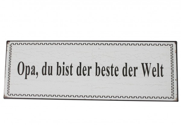 Schild aus Metall - Opa, du bist der beste der Welt - 35 x 12 cm - Bester Opa Blechschild