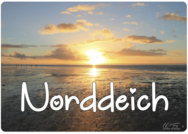Holz-Brett, Norddeich Sonnenuntergang Ebbe Strand, Holz-Schild Wand-Bild 21x15cm