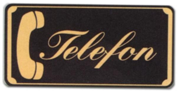 Hinweisschild - Gastronomieschild braun - Telefon - mit Hörerpiktogramm - Fernsprecher Phone Gastronomie Hotel Restaurant Wirtschaft Kneipe Bistro Caf