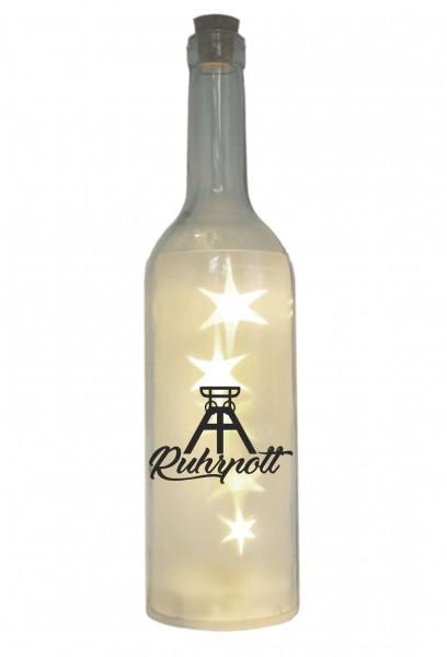 LED-Flasche mit Motiv, Ruhrpott Förderturm, grau, 29cm, Flaschen-Licht Lampe mit Text Spruch Ruhrgebiet