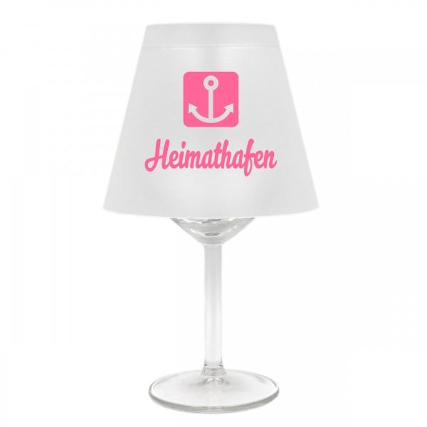 Lampenschirm für Weinglas, Heimathafen mit Anker, rosa, Schirm ohne Glas, Windlicht