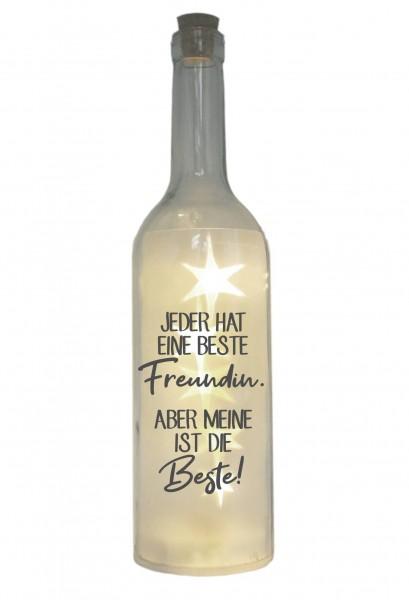 LED-Flasche mit Motiv, Jeder hat eine beste Freundin, grau, 29cm, Flaschen-Licht Lampe mit Text Spruch