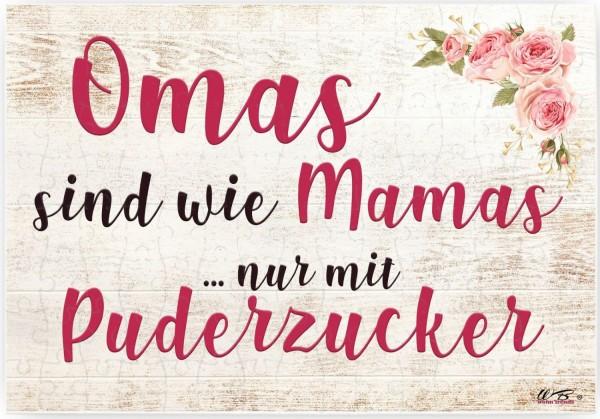 Puzzle-Botschaft eckig, Omas sind wie Mamas nur mit Puderzucker, 120 Teile 27x18cm inkl. Geschenk-Beutel