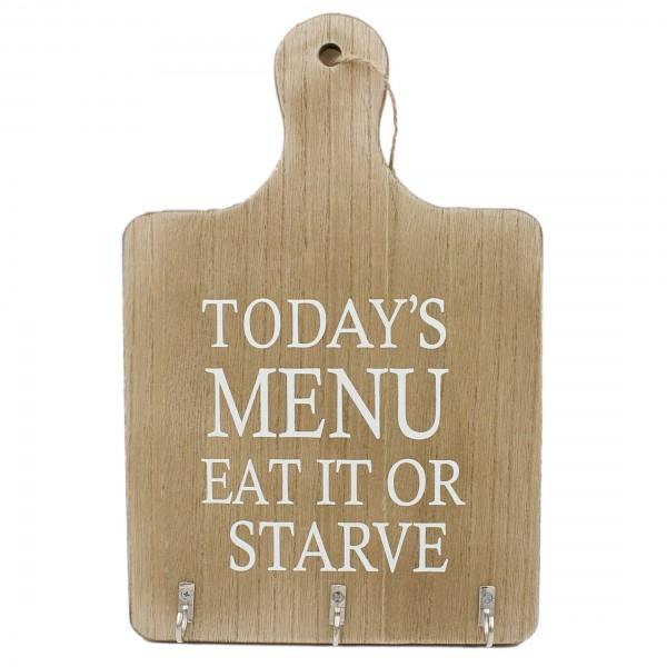 Deko-Küchenbrett mit Spruch ~ Todays menu... ~ mit Haken für Geschirrtücher, Kochlöffel usw