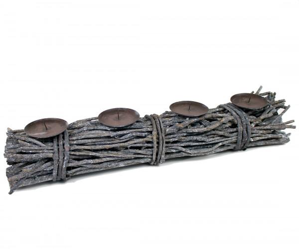 Natur Gesteck für 4 Kerzen - Adventskranz - aus Holz Ästen