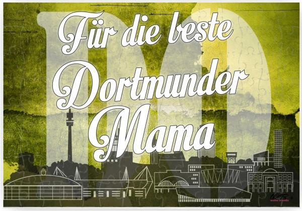 Puzzle-Botschaft eckig, Für die beste Dortmunder Mama - Dortmund, 120 Teile 27x18cm inkl. Geschenk-Beutel, WB wohn trends®
