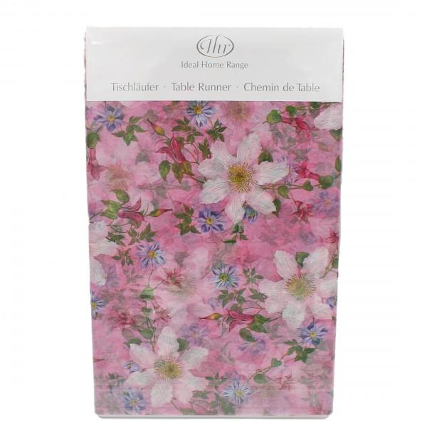 Tischläufer ~ Clematis lila pink ~ 600 x 33 cm ~ aus Zellulose ~ wasserunlöslich