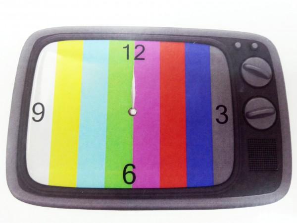 Retro Wanduhr aus Glas - Fernseher TV Testbild - Uhr 30x20cm grau