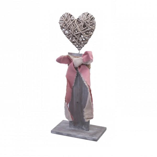 Mittleres Deko-Objekt aus Holz und Korb-Geflecht zum Stellen, Herz grau, 45cm, shabby Look