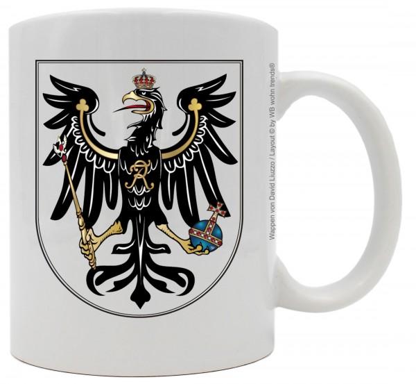Tasse mit beidseitigem Motiv ~ Preußen Wappen ~ Farbe: weiß ~ Kaffee-Becher mit Motiv