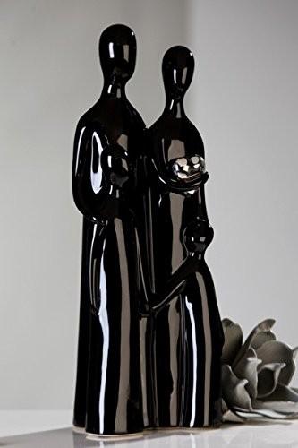 Casablanca Skulptur 'Familia' mit silbernem Herz, 38 cm, schwarz/silber