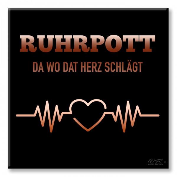 Deko-Fliese, Ruhrpott da wo dat Herz Schlägt, schwarz, Foto-Fliese Wand-Bild Deko-Bild 15x15cm