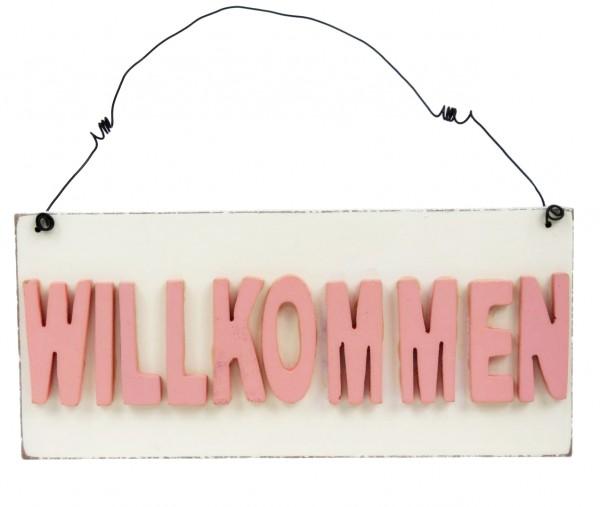 Süßes Schild aus Holz WILLKOMMEN zum Hängen , rosa creme-weiß, 20 x 9 x 1,5 cm