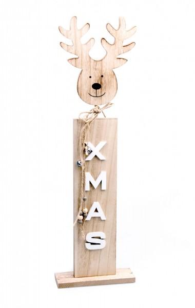 XXL Deko-Figur aus Holz, Elch-Kopf X-MAS, 60x18x6cm, zwei Größen wählbar, Rentier Hirsch Weihnachts-Deko Weihnachten