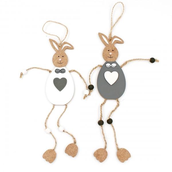 Hasen Pärchen zum Hängen, weiß grau, 23cm, 2 Figuren aus Holz