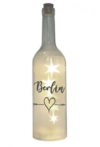 LED-Flasche mit Motiv, Berlin Herz, grau, 29cm, Flaschen-Licht Lampe mit Text Spruch Stadt
