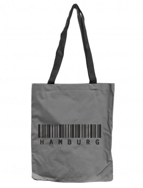 Reflektor-Tasche Hamburg Barcode, grau-silber REFLEKTIERT! Einkaufs-Beutel mit Innentasche, Einkaufstasche Tragetasche Shopper Shopping-Bag maritim