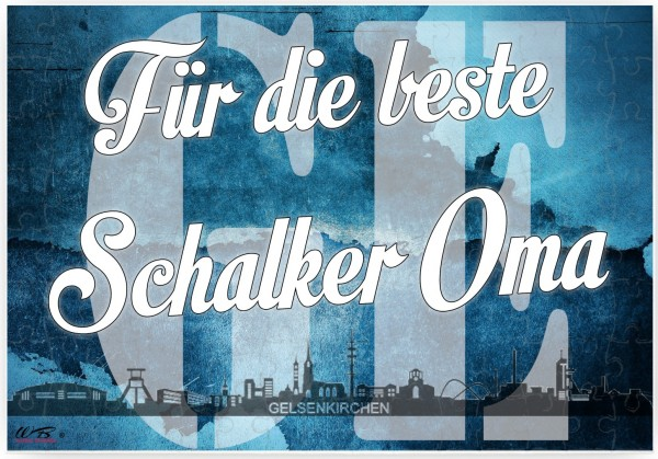 Puzzle-Botschaft eckig, Für die beste Schalker Oma - Gelsenkirchen, 120 Teile 27x18cm inkl. Geschenk-Beutel, WB wohn trends®