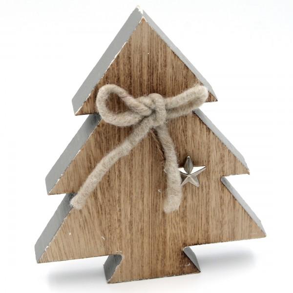Deko Weihnachts-Baum aus Holz, grau natur, mit Applikationen aus Stoff und Stern, 16,5x14x2cm Weihnachten shabby Look