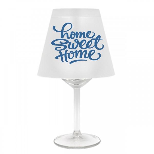 Lampenschirm für Weinglas ~ Home sweet home, A, blau ~ Schirm ohne Glas ~ Windlicht