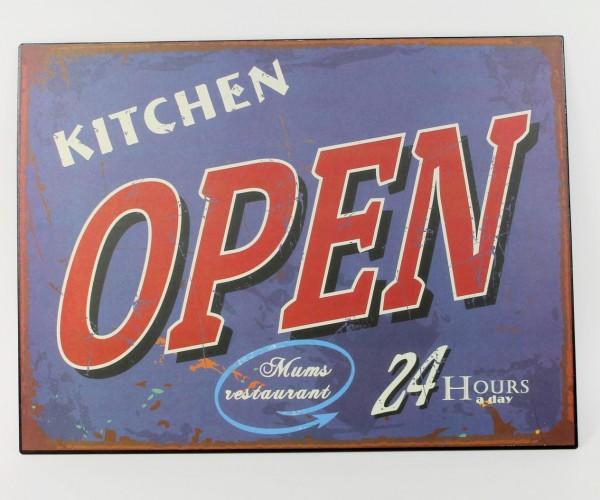 Schild aus Metall - Kitchen OPEN - Mums Restaurant - 24 hours a day - 40 x 30 cm