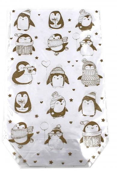 10 Stück Folien-Geschenkbeutel, Winter-Pinguin gold, Weihnachten transparent 14,5x23,5cm, für Kekse, Pralinen