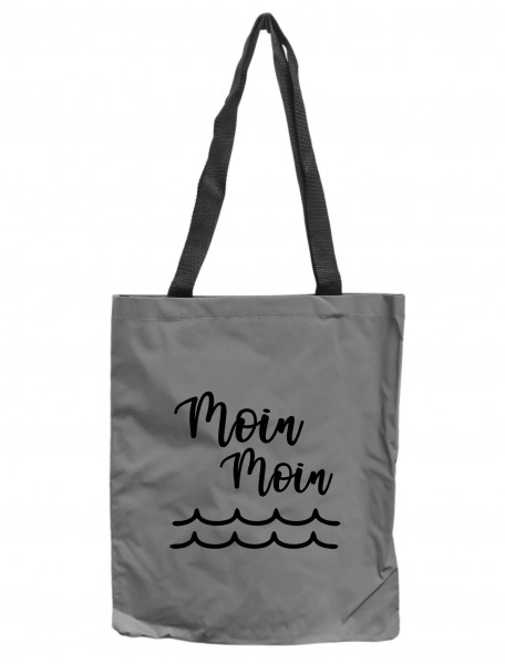 Reflektor-Tasche Moin Moin Welle maritim, grau-silber REFLEKTIERT! Einkaufs-Beutel mit Innentasche, Einkaufstasche Tragetasche Shopper Shopping-Bag