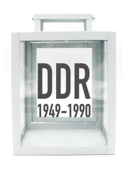 Metall-Laterne mit Aufdruck, DDR 1949 - 1990, weiß, 25x18x13cm, für LED-Kerzen, Farbauswahl möglich