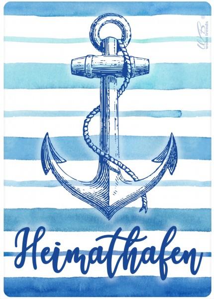 Holz-Postkarte, Heimathafen Anker maritim blau weiss, Holz-Schild Wand-Bild Deko-Schild 15x10cm