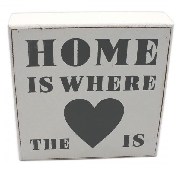 Deko Schild zum Stellen & Hängen aus Holz ~ weiß ~ HOME IST WHERE THE HEART/LOVE IS ~ 12 x 12 x 3 cm