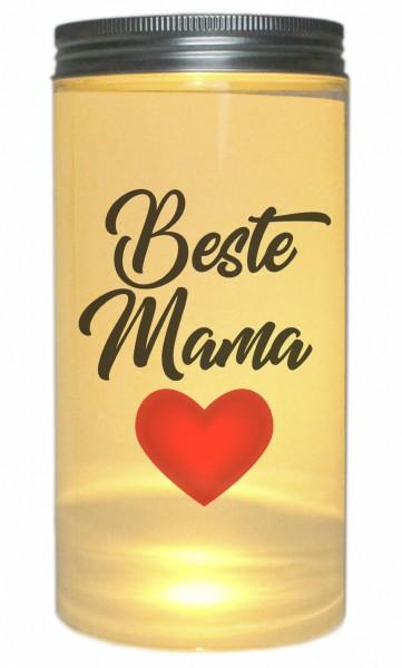 LED-Licht Beste Mama Herz, 14x7cm Dose mit Deckel Leuchte LED-Lampe mit Text Spruch Mama Mutter-Tag